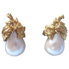 Vintage Avon Precious Pear Pierced Earrings - Goldtone, Faux Pearl, Rhinestone
