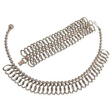 Bold WIDE Bracelet and Choker 'Machine Age' Necklace Set in Silvertone