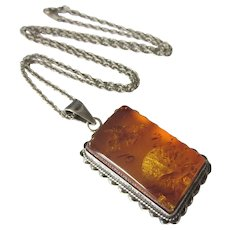 "Vintage Sterling and Amber Pendant and 20"" Sterling Chain Necklace - Red Tag Sale Item"