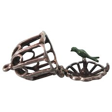 Vintage Sterling Mechanical Birdcage Charm With Teal Enamel Bird - Opens - Red Tag Sale Item