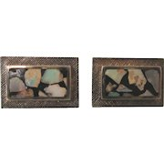 Vintage Bold Sterling and Opal Mosaic Cuff Links