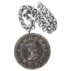 Vintage Huge Heraldry Medallion Pendant Necklace on Hammered Aluminum Belcher or Rolo Chain
