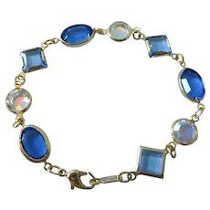 "Swarovski Swan Mark Blue and Clear Crystal Bezel 7-1/2"" Bracelet"