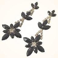 Gorgeous LONG Vintage Black and Clear Rhinestone Chandelier Pierced Earrings
