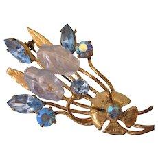 Vintage Austrian Brooch, Goldtone With Blue AB Rhinestones