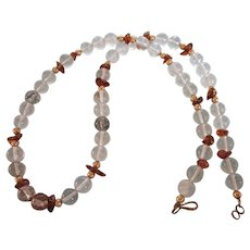 """Genuine Drilled Quartz Bead 22-1/2"""" Necklace With Amethyst Chip Accents"""