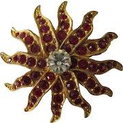 Signed Bellini Ruby Rhinestone Goldtone Starburst Brooch