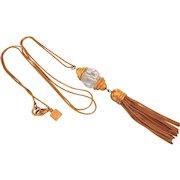 Vintage Signed Anne Klein Long Tassel Necklace With Faceted Crystal