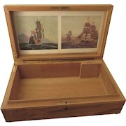 FINAL CLEARANCE   Scarce Vintage Large Inlaid Wood Cuban Cigar Display Box With Sailing Prints and Key, Made in Havana Cuba