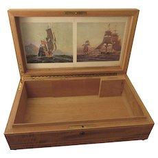 FINAL CLEARANCE   Scarce Vintage Large Inlaid Wood Cuban Cigar Display Box With Sailing Prints and Key, Made in Havana Cuba
