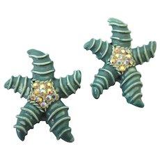 Pair of Vintage Enamel and Rhinestone Starfish Scatter Pins