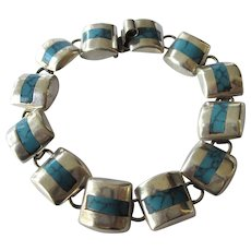 """Vintage Taxco Sterling Domed Link 7-1/2"""" Bracelet With Faux Turquoise"""