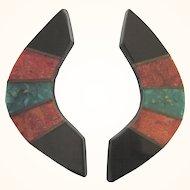 Vintage Inlaid Boomerang Design Pierced Earrings
