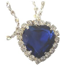 """FINAL CLEARANCE   Signed W Lind Sapphire Rhinestone Titanic Heart 19"""" Necklace"""