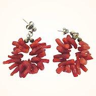 Vintage Branch Coral Dangle Pierced Earrings