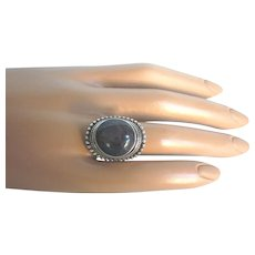 Stunning, Bold Sterling and Gray Sapphire Saddle Ring, Size 6-1/2