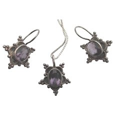 Lovely Sterling and Amethyst Glass Parure - Pendant With Chain and Pierced Earrings