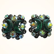 Dazzling Mid-20th Century Emerald Green Crescent Rhinestone Clip Earrings