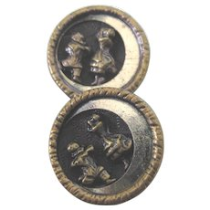 Rare Pair of Vintage Cossack Dancer Buttons