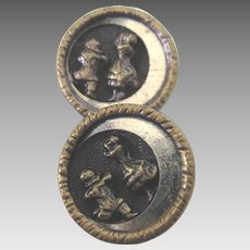Pair of Vintage Cossack Dancer Buttons