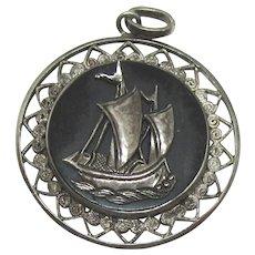 Vintage Sterling Filigree Sailing Ship Pendant