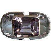 Exceptional Sterling 3 Carat Amethyst Modernist Design Ring, Size 7-1/2