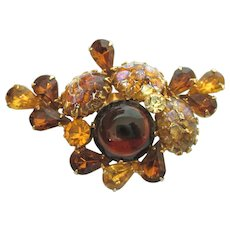 Stunning Vintage Amber Confetti Jelly Belly Large Brooch