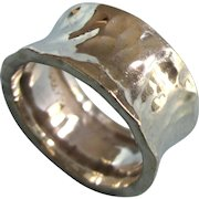 Vintage Hammered Sterling Wide Chunky Band Ring, Size 8