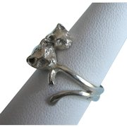 Sterling Cats Design Band Ring, Size 7-1/2
