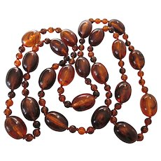 """Runway Vintage 48"""" Faux Amber Lucite Bead Rope Necklace - Dramatic Beads"""
