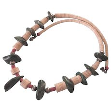 """Bold Vintage Southwestern Heishi, Stone and Coral 24"""" Graduated Bead Necklace"""