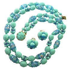 Heavenly Vintage W. Germany Aqua Bead Set - Necklace and Clip Earrings