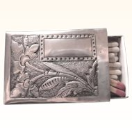 Ornate Sterling Floral Repousse Match Safe Box, No Monogram