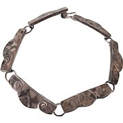 """Vintage Sterling Inlaid Gemstone Mexican 7-1/2"""" Bracelet"""