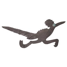 Vintage Southwestern Sterling and Turquoise Roadrunner Pin