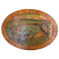 Arts & Crafts Carved, Painted & Burnished Painted Wildlife Forrest Plaque