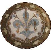 """Vintage Florentine Fleur-de-Lis Gilt and Blue Round 9-1/2"""" Tray"""