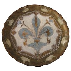 "Vintage Florentine Fleur-de-Lis Gilt and Blue Round 9-1/2"" Tray"