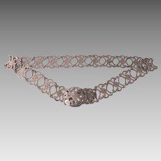 "Vintage Ornate Metal Cutout Belt, 32"" or Smaller"
