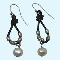 Unusual Sterling Silver, Black Leather and Freshwater Pearl Dangle Pierced Earrings - Fabulous!