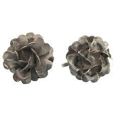 Mexican Pre-Eagle (1920's-1940's) Sterling Floral Screw Back Earrings