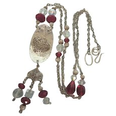 """Wonderful Sterling Silver and Crystal 24"""" Charms Necklace"""