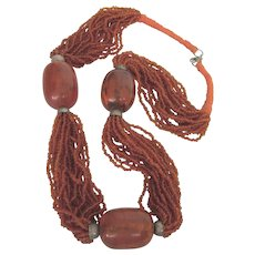 Fabulous Ethnic Multistrand Glass Bead and Faux Amber Bold Necklace