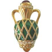 Fabulous Joan Rivers Large Brooch, Jewel Encrusted Enamel Urn