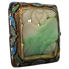 Fabulous Antique Huge Carved Jade Sterling Gilt Enamel Chinese Export Ring