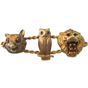 Fabulous 14K Wolf, Owl & Lion Brooch Embellished With Gemstones, 7.3 Grams