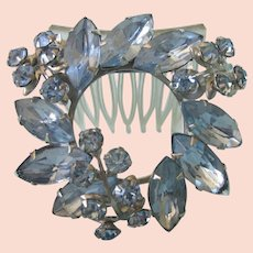 Vintage Blue Rhinestone Hair Comb, Mid-20th Century