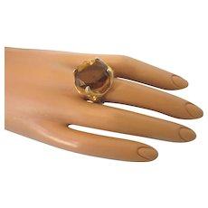 Mid-Century Huge Citrine Glass Cocktail Ring in Goldtone, Adjustable