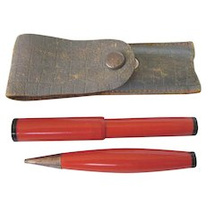 Vintage Miniature Fountain Pen and Pencil Set in Leather Pouch Travel Set
