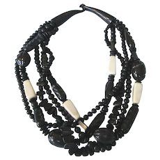 Fabulous Horn and Bone Bold Multistrand Necklace